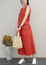Load image into Gallery viewer, Loose red cotton Long Shirts o neck asymmetric Maxi summer Dress