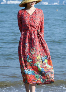 Loose red floral linen outfit drawstring long v neck Dresses