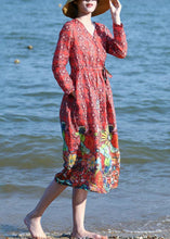 Load image into Gallery viewer, Loose red floral linen outfit drawstring long v neck Dresses