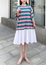 Loose red green striped dresses o neck Ruffles cotton summer Dress