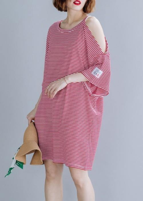 Loose red striped Cotton tunic top o neck side open shift Dresses