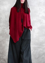 Load image into Gallery viewer, Loose red tops asymmetric hem oversized high neck blouse