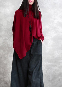 Loose red tops asymmetric hem oversized high neck blouse