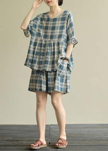 Loose round neck stitching top elasticated shorts blue plaid two-piece suit