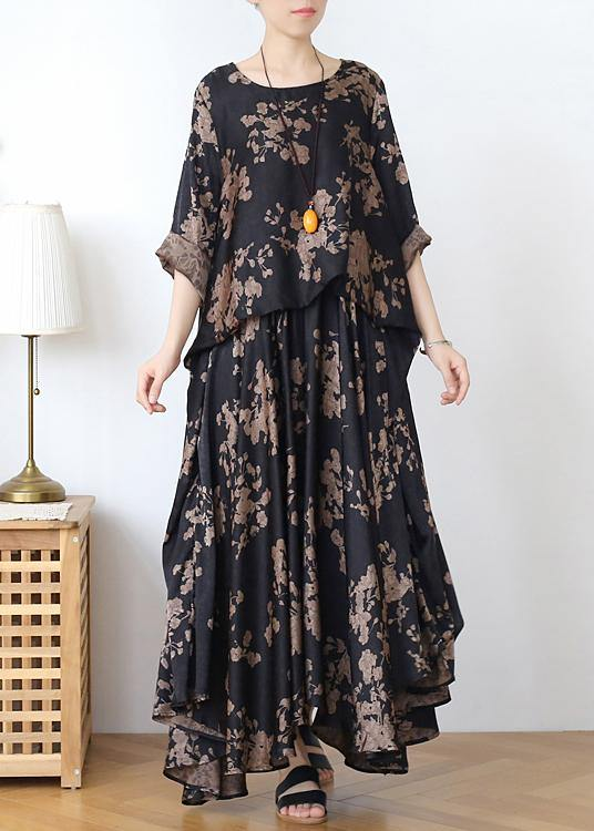 Loose silk satin wind dress black coffee color printing fashion fake two-piece goddess Fan big swing skirt