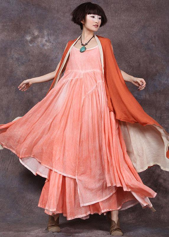 Loose sleeveless linen clothes For Women Tunic Tops orange tie waist cardigan summer