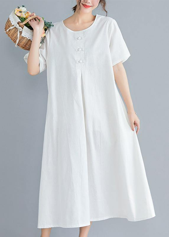 Loose solid color cotton clothes Tutorials white Art Dress summer