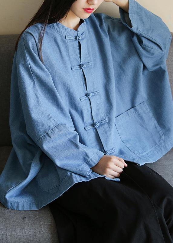 Loose stand collar Chinese Button clothes For Women Sleeve denim light blue shirts