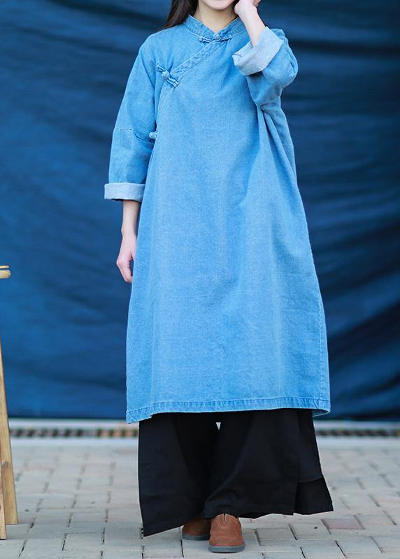 Loose stand collar Tunic Photography denim light blue Dress