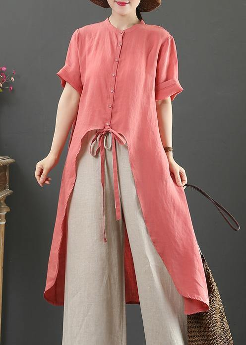 Loose stand collar asymmetric linen shirts Tutorials red tops