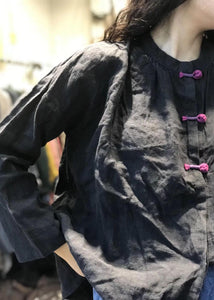 Loose stand collar linen top silhouette design black shirts fall