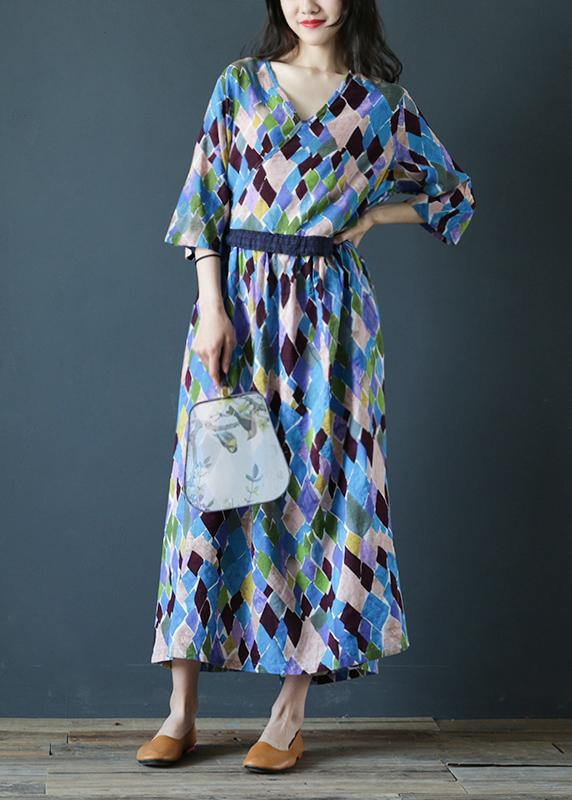 Loose v neck drawstring cotton summer dresses Sleeve plaid Maxi Dresses