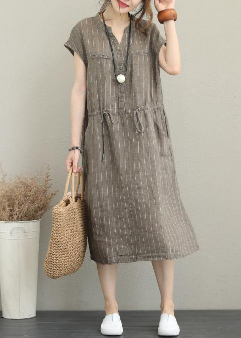 Loose v neck drawstring linen summer Robes Neckline kahki striped Dresses