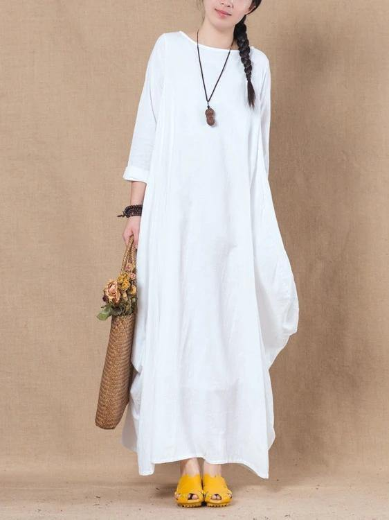 Loose white cotton linen dress o neck asymmetric A Line spring Dresses