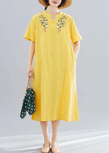 Loose yellow embroidery cotton clothes For Women v neck Vestidos De Lino summer Dresses