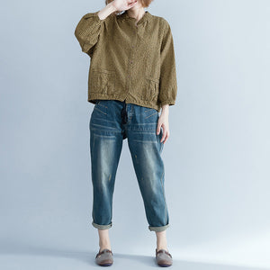 Loose yellow linen Long Shirts Women Tutorials long sleeve loose stand collar blouses