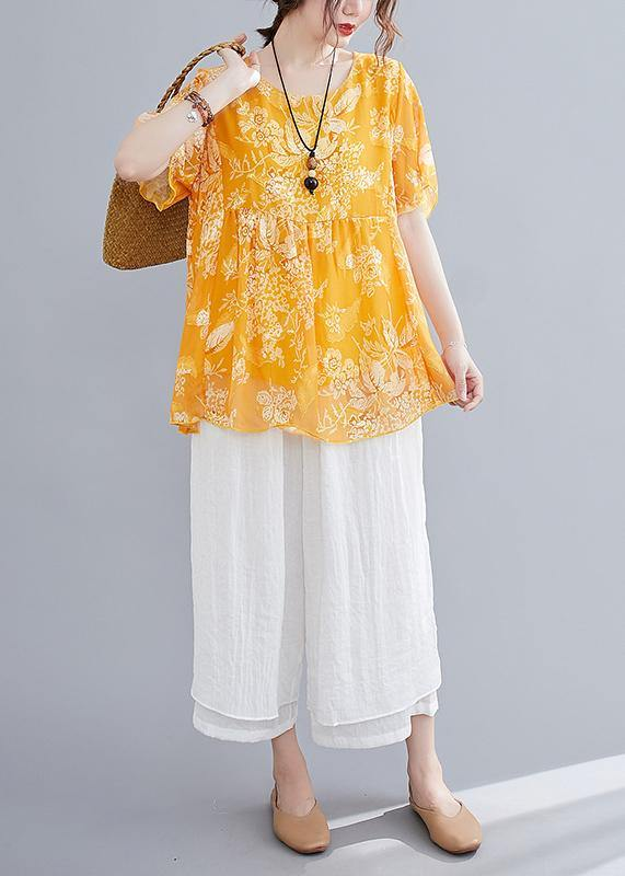 Loose yellow small floral cotton and linen top + wide leg pants casual two pieces