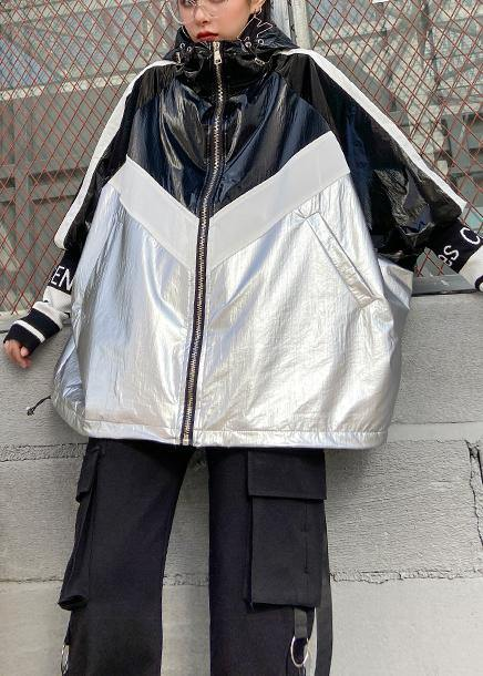 Loose zippered fine trench coat black patchwork silver silhouette jackets