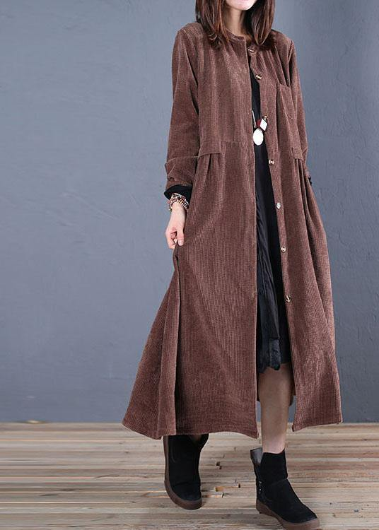 Luxury Loose fitting Coats fall coats chocolate o neck pockets outwear