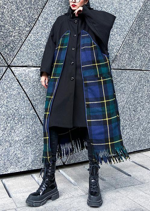 Luxury Loose fitting Jackets & Coats patchwork coat blue plaid tassel woolen outwear