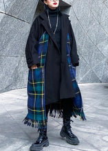 Load image into Gallery viewer, Luxury Loose fitting Jackets & Coats patchwork coat blue plaid tassel woolen outwear
