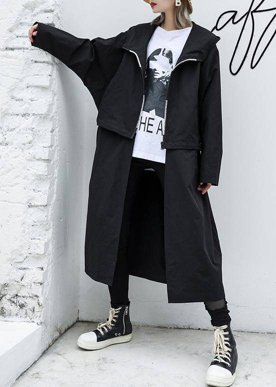 Luxury Loose fitting long hooded outwear black patchwork pockets coats