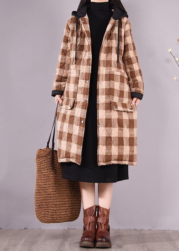 Luxury Oversize Outwear Chocolate Plaid Hooded Pockets Casual Outfit