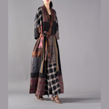 Load image into Gallery viewer, Luxury Plaid long coat plus size V neck baggy trench coat boutique tie waist patchwork long jackets