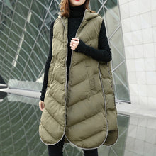 Load image into Gallery viewer, Luxury army green Parka casual hooded down over coat women Sleeveless trench coat