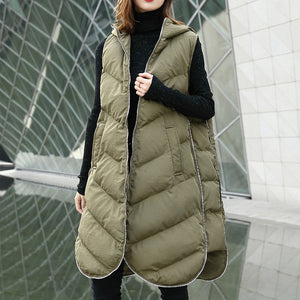 Luxury army green Parka casual hooded down over coat women Sleeveless trench coat