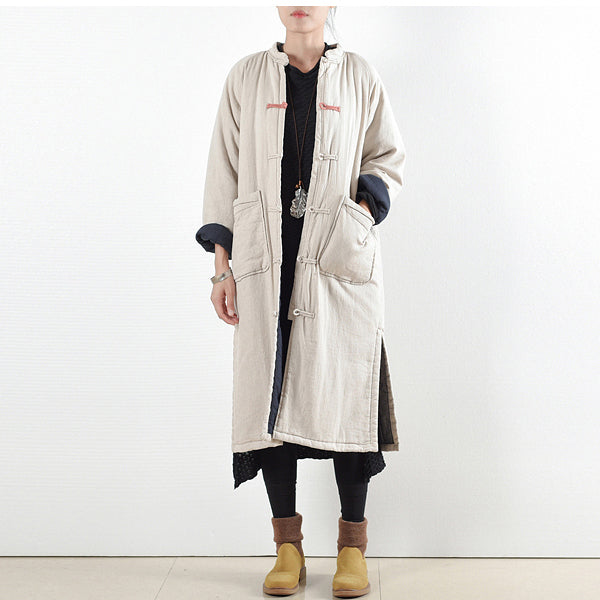 Luxury beige white casual coat Loose fitting cotton coat Elegant side open trench coat Chinese Button