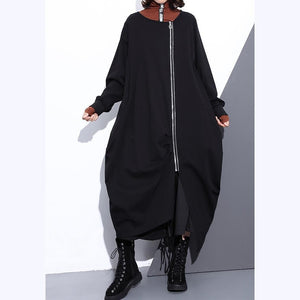 Luxury black Coat plus size O neck asymmetrical design Coats top quality zippered long coats
