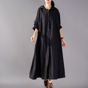 Luxury black Coats oversize hooded fashion trench coat Fine baggy Winter coat