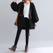 Load image into Gallery viewer, Luxury black Parkas for women casual hooded warm winter coat Elegant embroidery winter coats