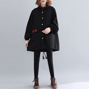 Luxury black Parkas for women casual hooded warm winter coat Elegant embroidery winter coats