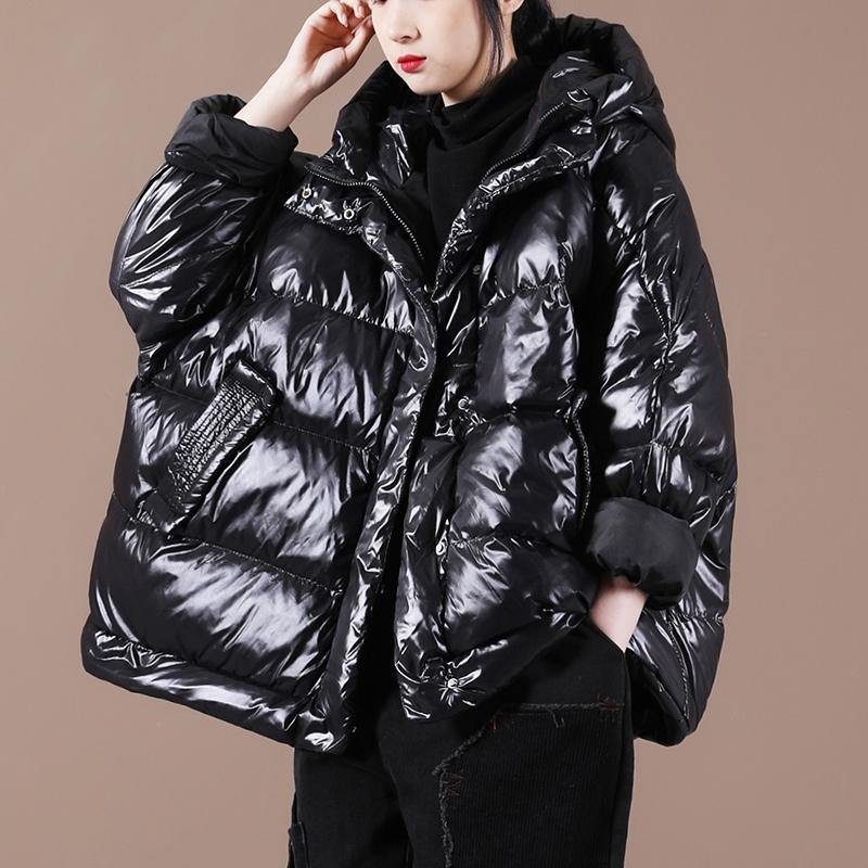 Luxury black down coat winter Loose fitting down jacket hooded zippered Warm coats