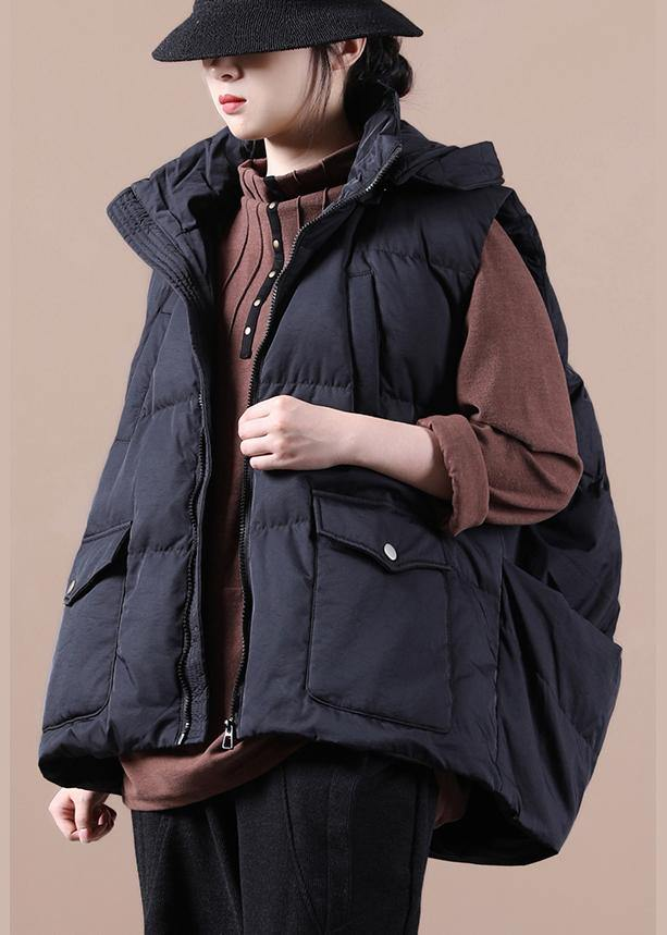 Luxury black down jacket woman oversize parka stand collar pockets Casual Vest