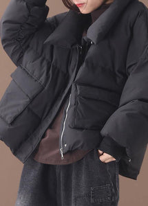 Luxury black goose Down coat trendy plus size down jacket winter stand collar outwear