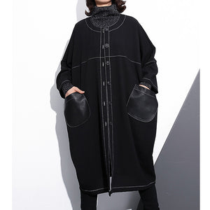 Luxury black maxi coat plus size o neck baggy boutique pockets coats