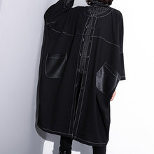 Load image into Gallery viewer, Luxury black maxi coat plus size o neck baggy boutique pockets coats