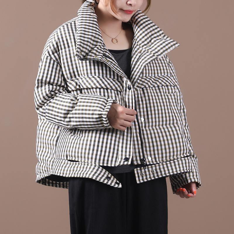 Luxury black plaid duck down coat trendy plus size stand collar Luxury overcoat