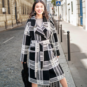 Luxury black white Plaid coat plus size Notched Wool Coat boutique tie waist Wool Coat