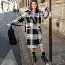 Load image into Gallery viewer, Luxury black white Plaid coat plus size Notched Wool Coat boutique tie waist Wool Coat