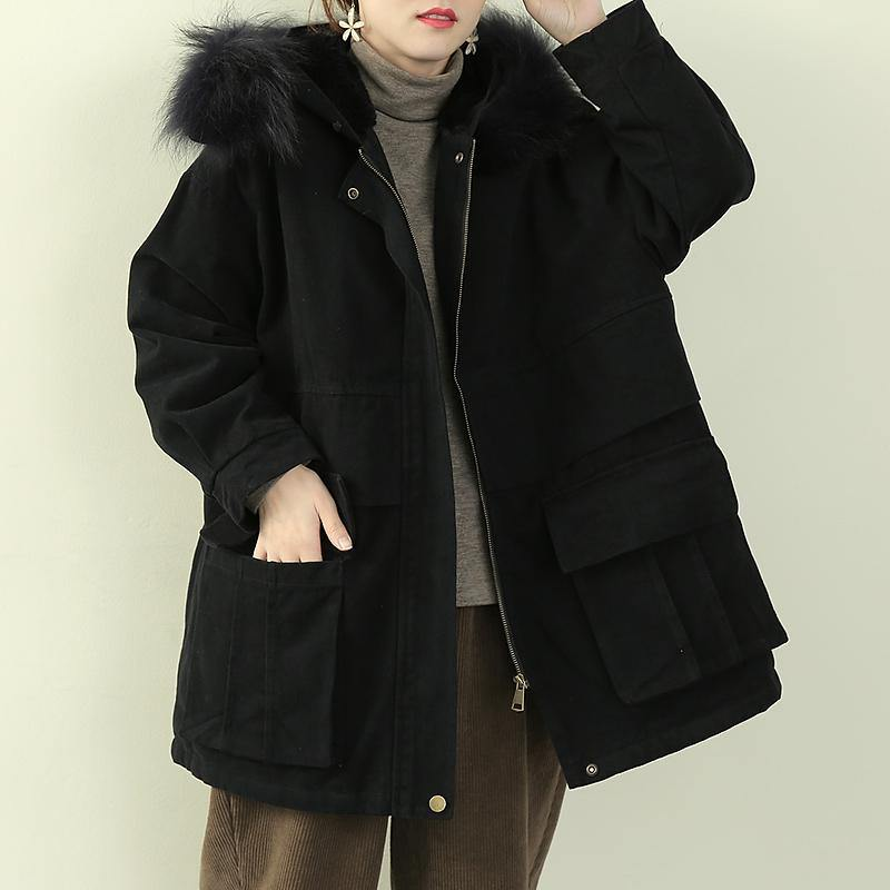 Luxury black winter coats plus size clothing hooded faux fur collar overcoat