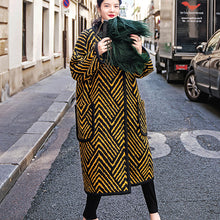 Load image into Gallery viewer, Luxury black yellow striped long coat Loose fitting o neck Coats boutique pockets wool jackets
