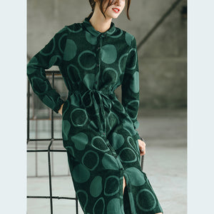 Luxury blackish green dotted  maxi coat casual Jacquard Peter pan Collar  Fine baggy dresses