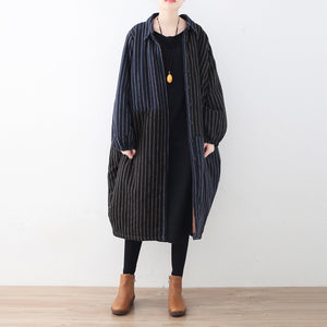 Luxury blue black striped down coat oversized woolen down overcoat Fine patchwork winter outwear