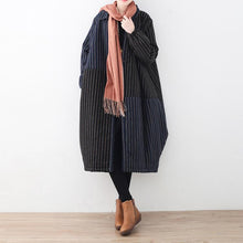 Load image into Gallery viewer, Luxury blue black striped down coat oversized woolen down overcoat Fine patchwork winter outwear