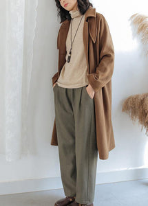 Luxury brown wool coat for woman oversize pockets Notched Coats