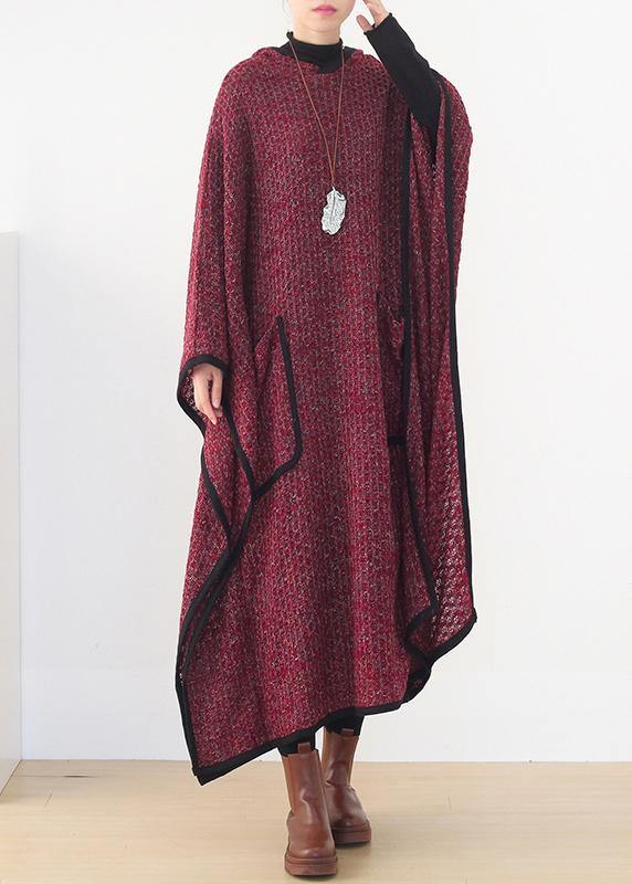 Luxury burgundy woolen outwear oversize hooded large hem long outwear